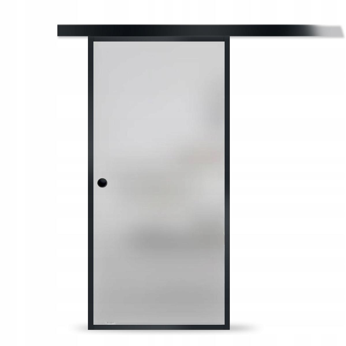 Drzwi Szklane Przesuwne Czarne z Muszelką Satyna