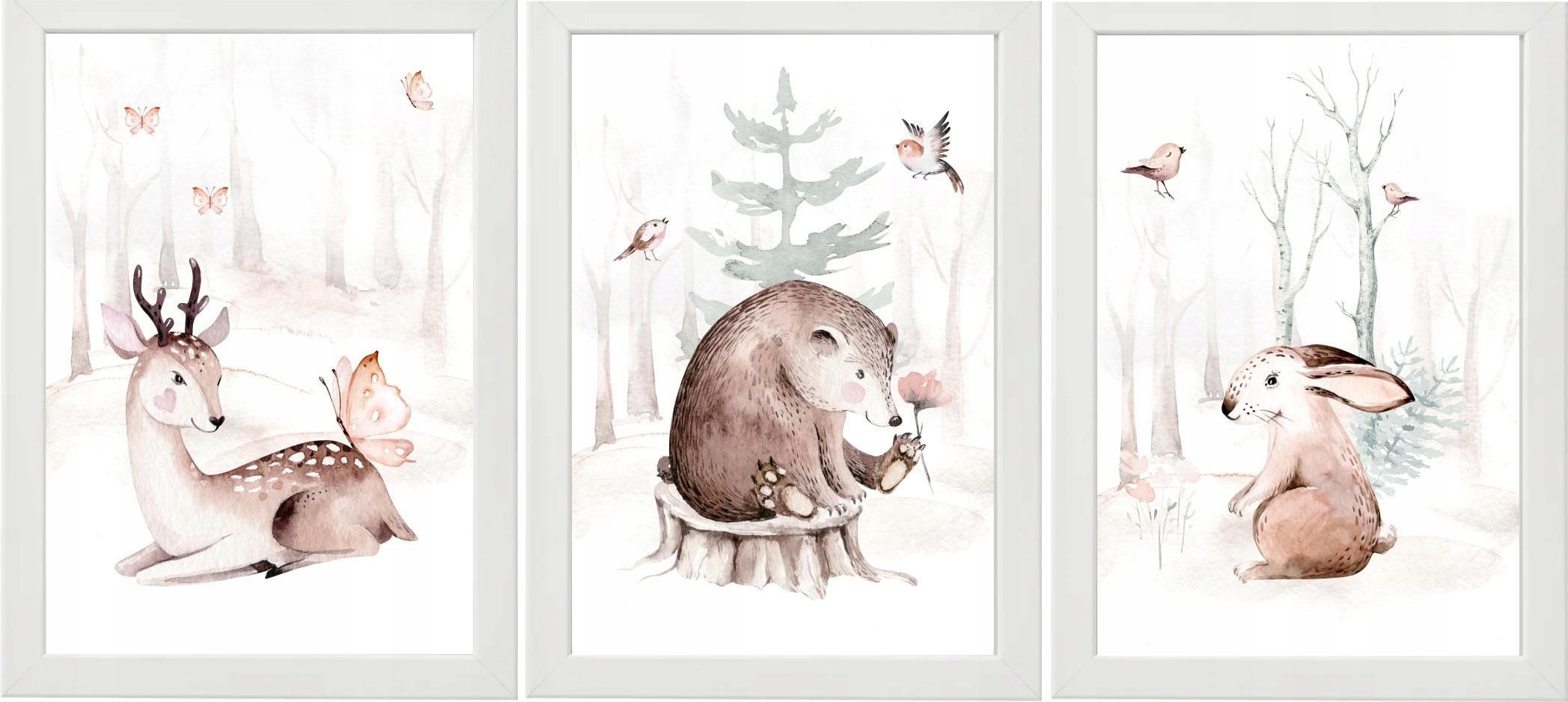 НАБОР ИЗ 3 ПОСТЕРНЫХ ФОТОГРАФИЙ Саренок медведь кролик лес