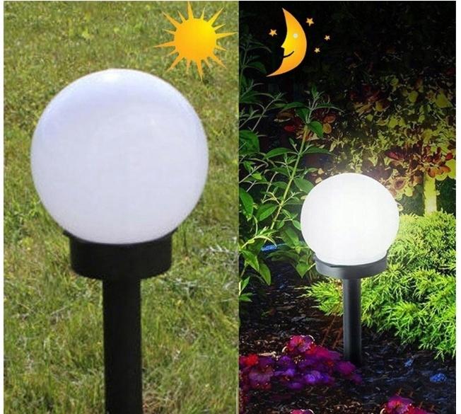 Lampa SOLARNA LED ogrodowa solar KULA 10 cm Kolor dominujący biały