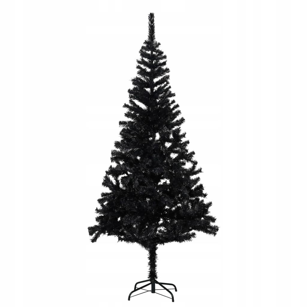 Umelý vianočný stromček so stojanom, čierny, 213 cm, PVC