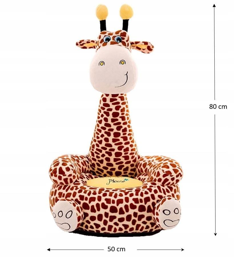 Plyšové kreslo do kresla. Maskotová pohovka. Žirafa pre deti. Hrdina