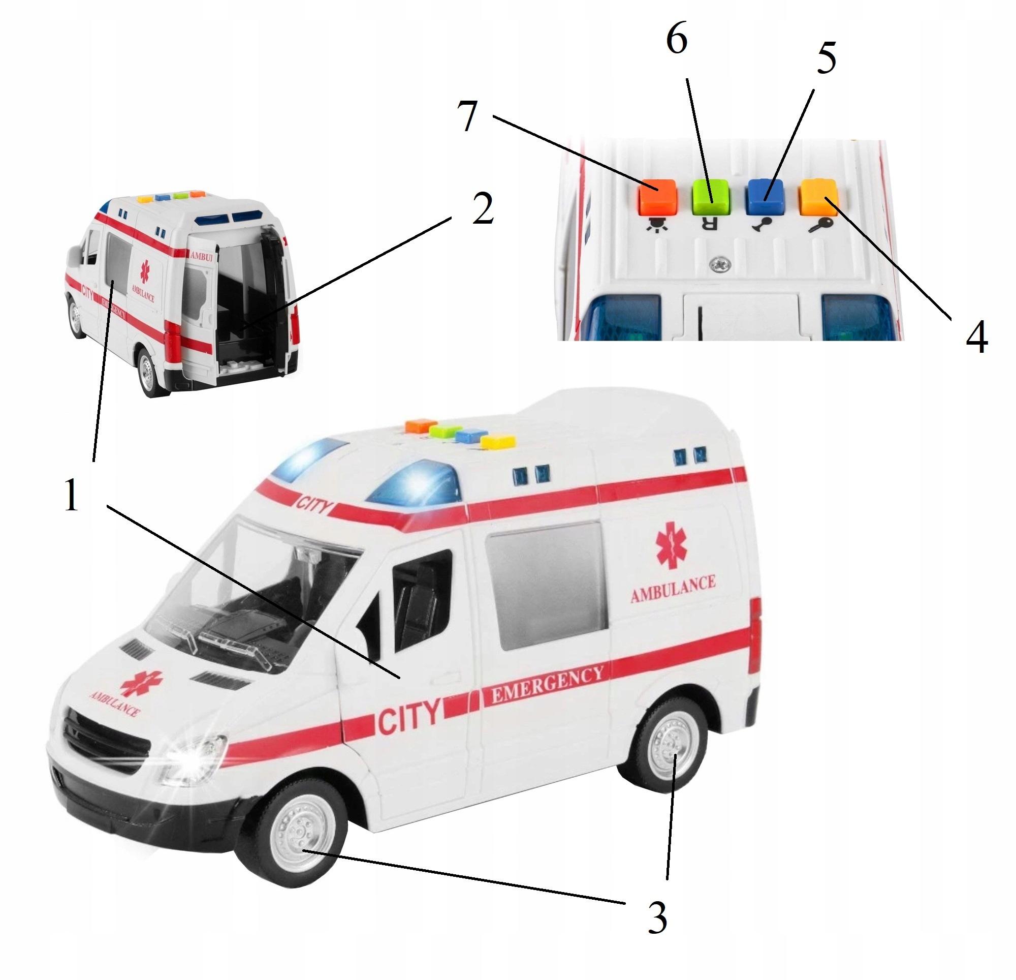 Auto ambulans karetka otwierane drzwi 1:16 WY590A Waga (z opakowaniem) 0.46 kg