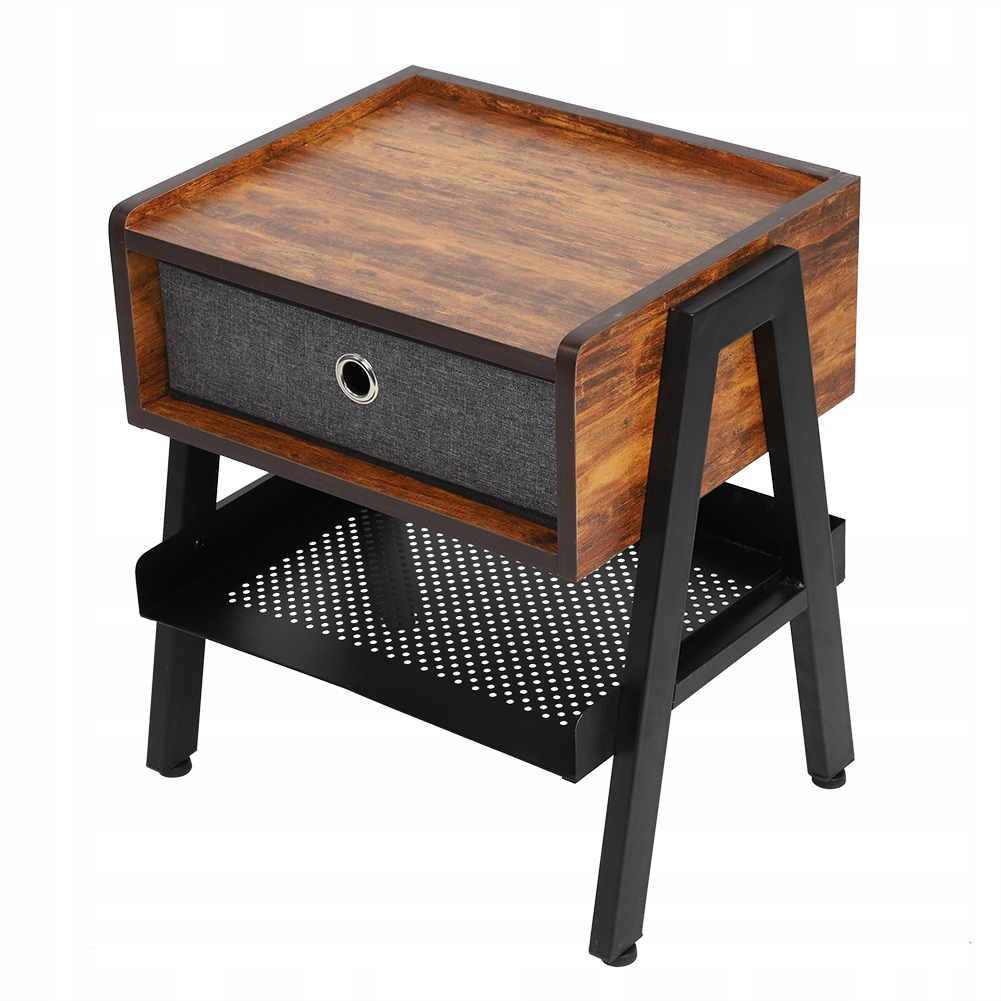 retro nočný stolík Drevená 2-zásuvková skriňa