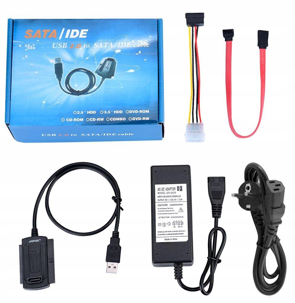 Купить АДАПТЕР ДИСКА ATA IDE 2.5 3.5 SATA USB 2.5A питание на Otpravka - цены и фото - доставка из Польши и стран Европы в Украину.