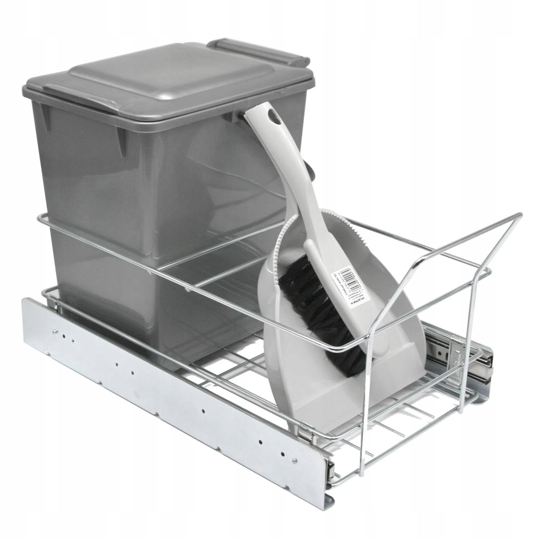 Двойной выдвижной контейнер для мусора, серый