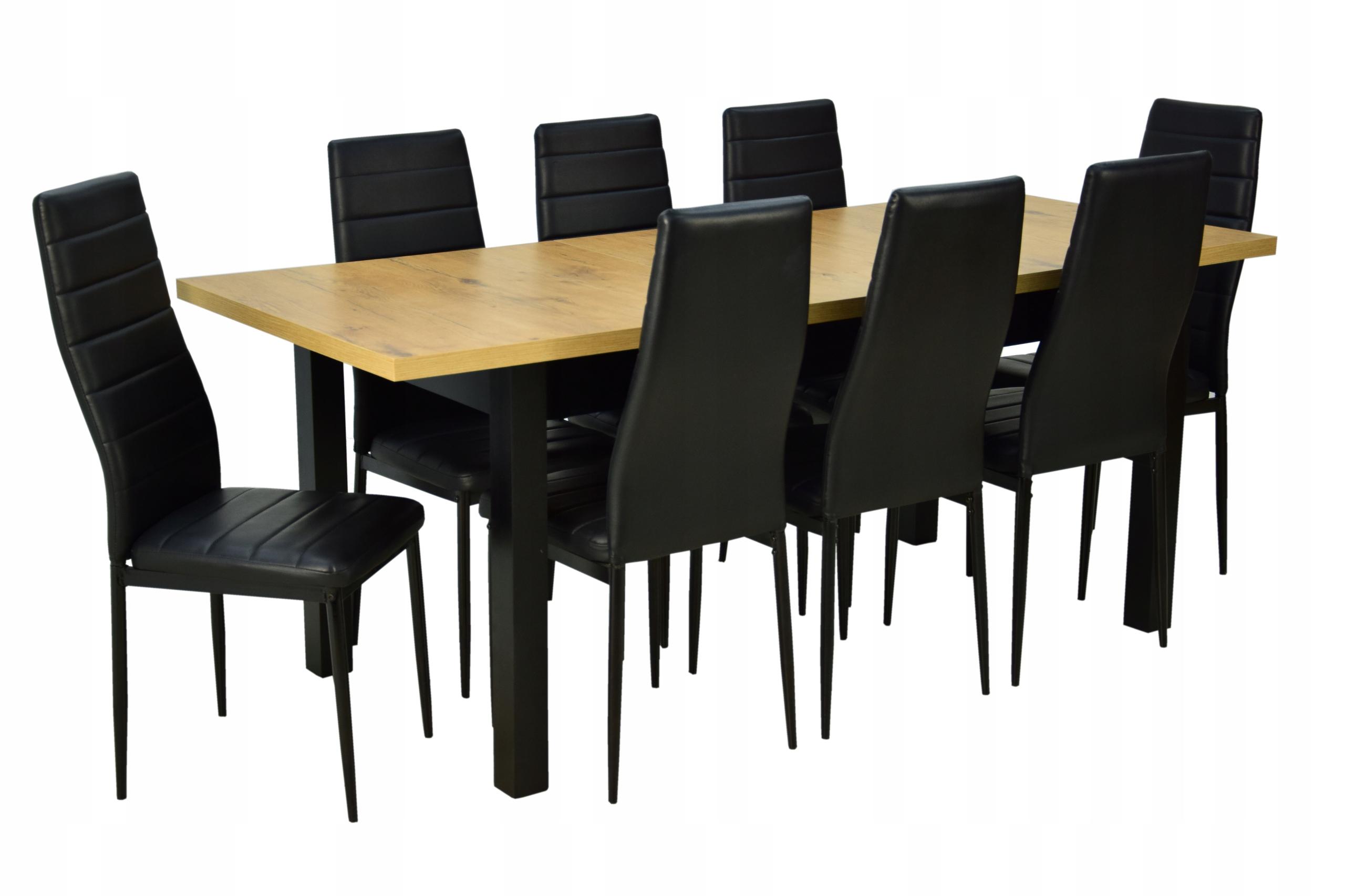 duży stół i 8 krzeseł drewno skandynawski styl