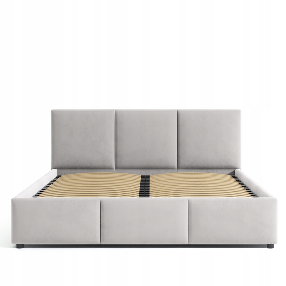 Łóżko Tapicerowane Jansy Beż Beżowe Welur 160x200 Typ łóżka z zagłówkiem ze stelażem pojemnik na pościel otwierany do góry