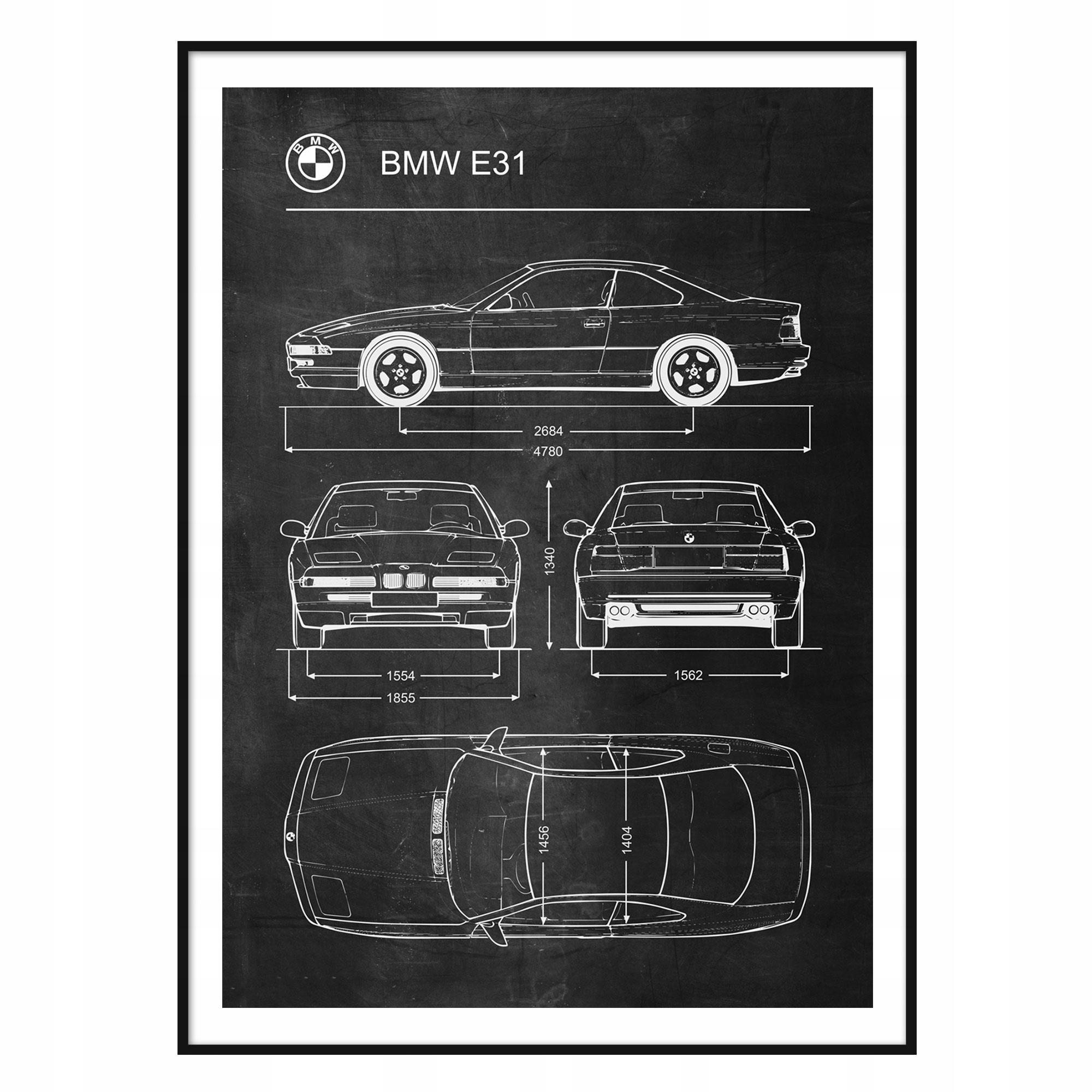 Plagát BMW E31 Retro-Patent Schémy Plagát