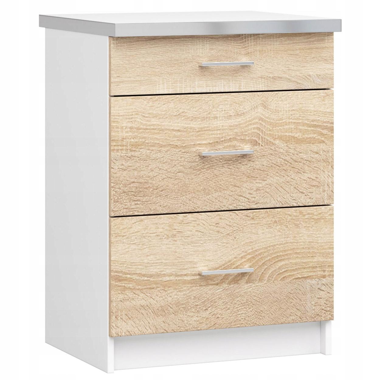 ШКАФ кухонная 60cm 3 ящик сонома /белая СТОЛЕШНИЦУ