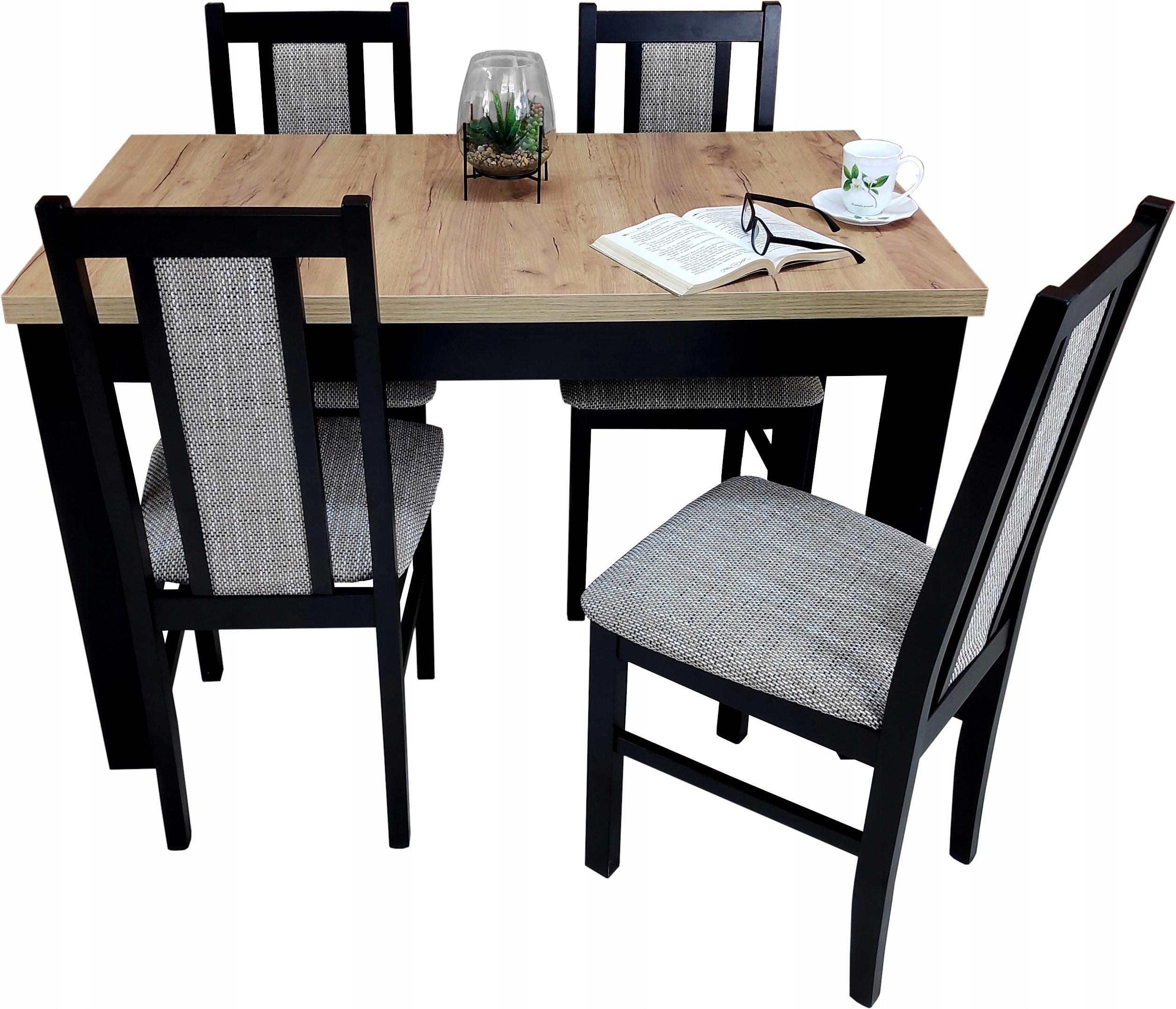 Массивный стол 70х120 / 170 дуб золотой крафт 4 стула