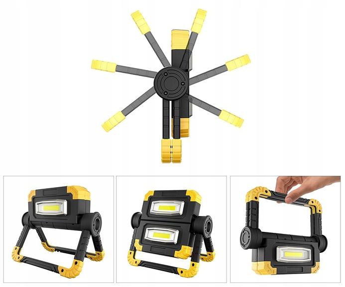 Funkcjonalna LAMPA ROBOCZA LED AKUMULATOROWA Trwałość 20000 h