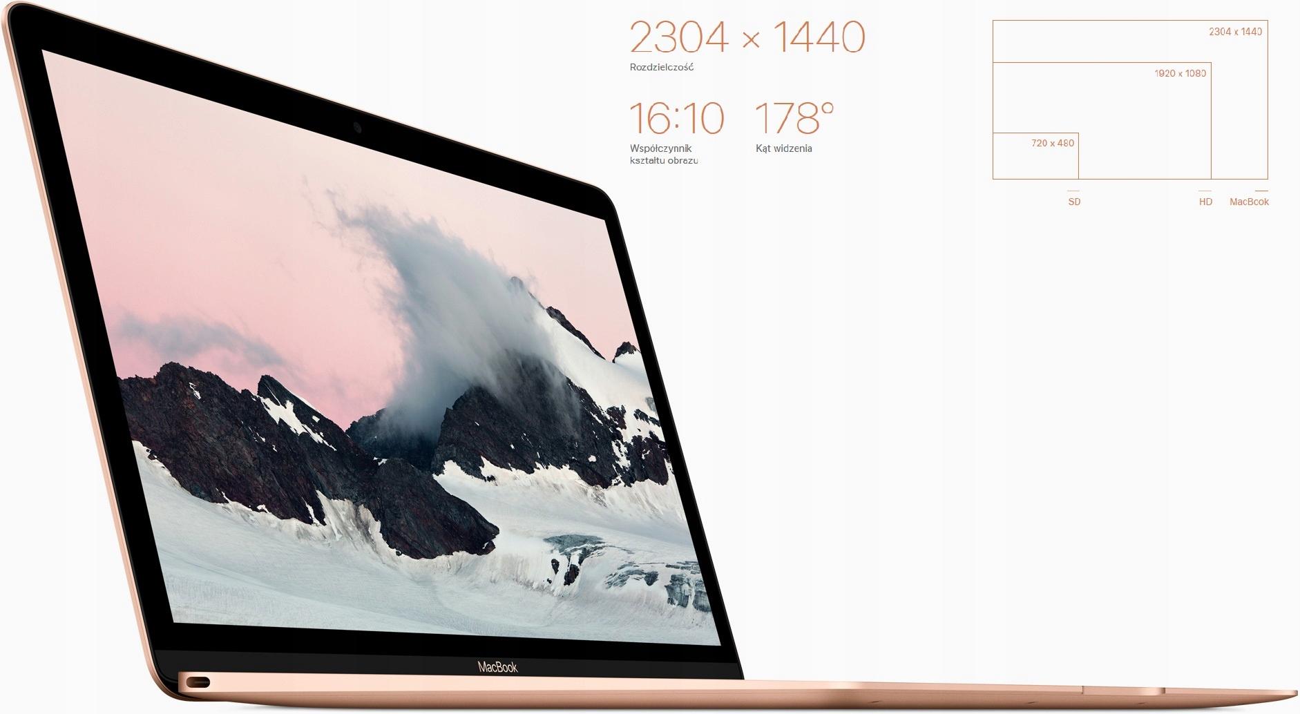 Macbook Retina 12 M5 1.1 8/256 Gold 2015 Wielkość pamięci RAM 8 GB
