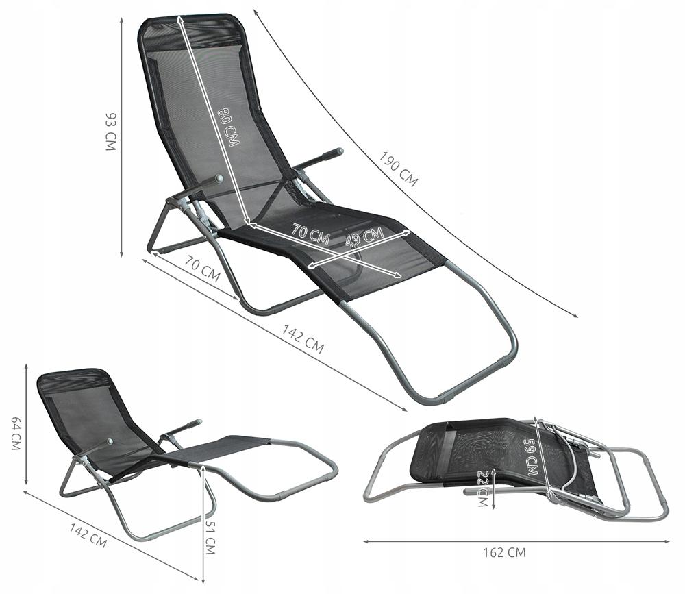 Leżak Plażowy Fotel Ogrodowy Składany Grawitacyjny Kod producenta 5571
