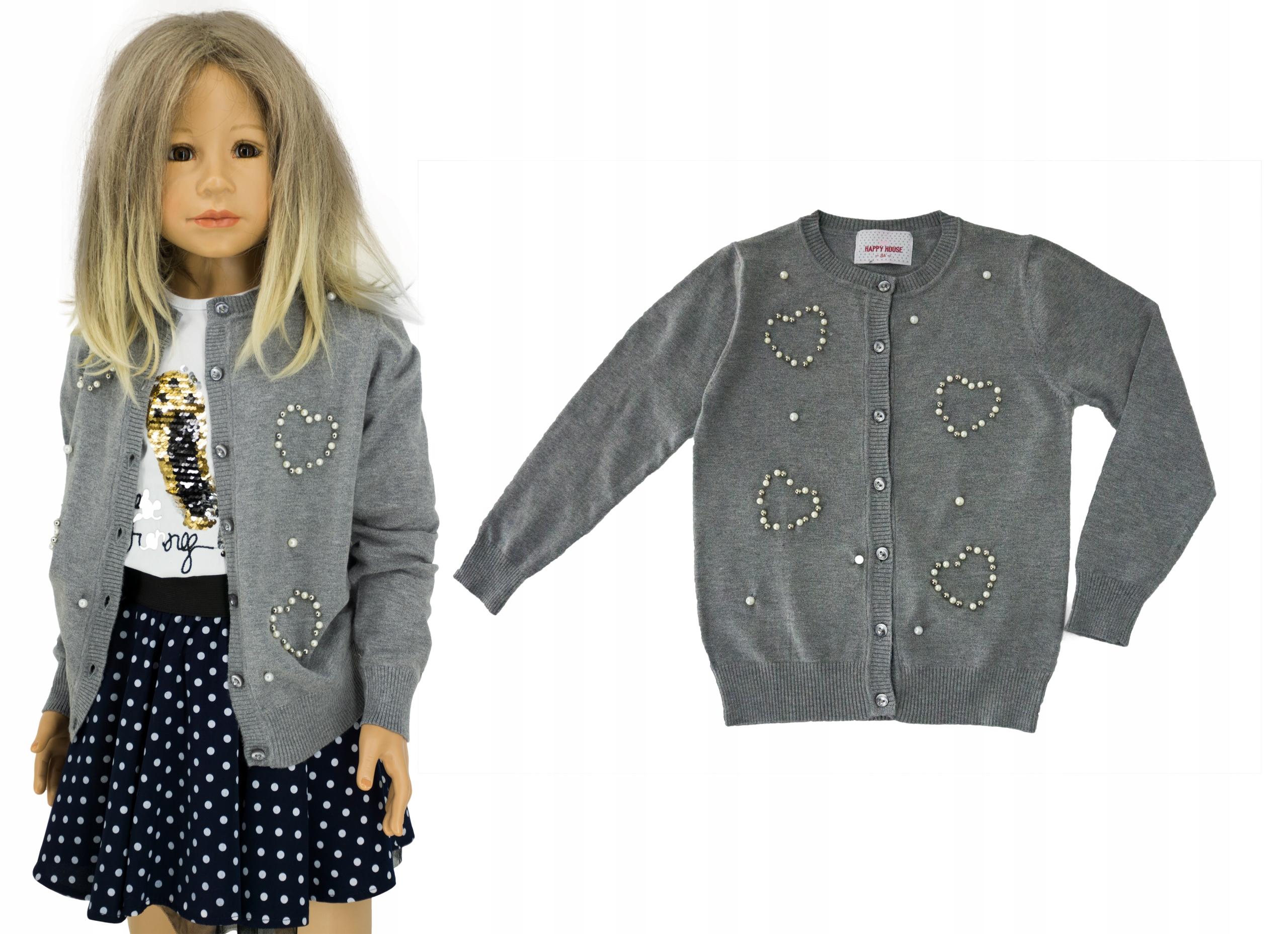 Rozpinany sweterek perełki M0149 rozmiar 134/140