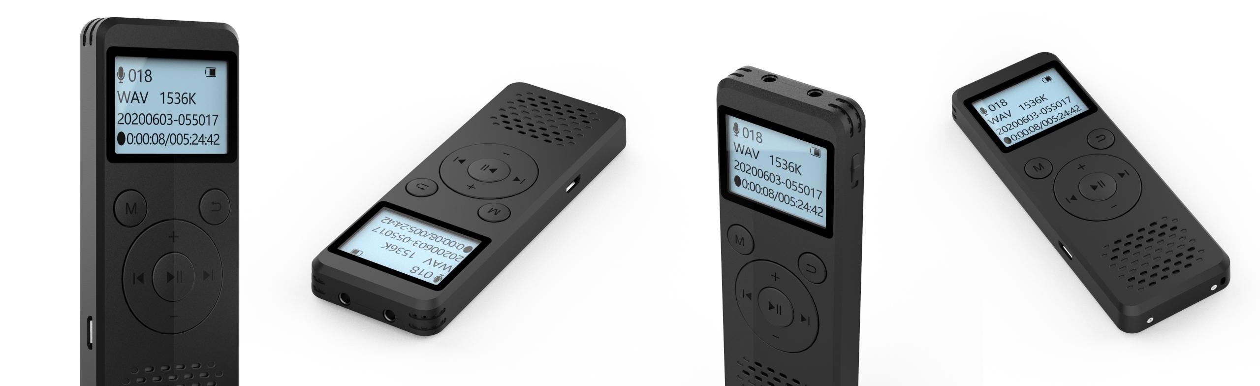 Szpiegowski Dyktafon cyfrowy1536Kbps 8GB detekcja Funkcje blokada przycisków funkcja dysku wymiennego podświetlenie wyświetlacza regulacja czułości mikrofonu regulacja prędkości odtwarzania