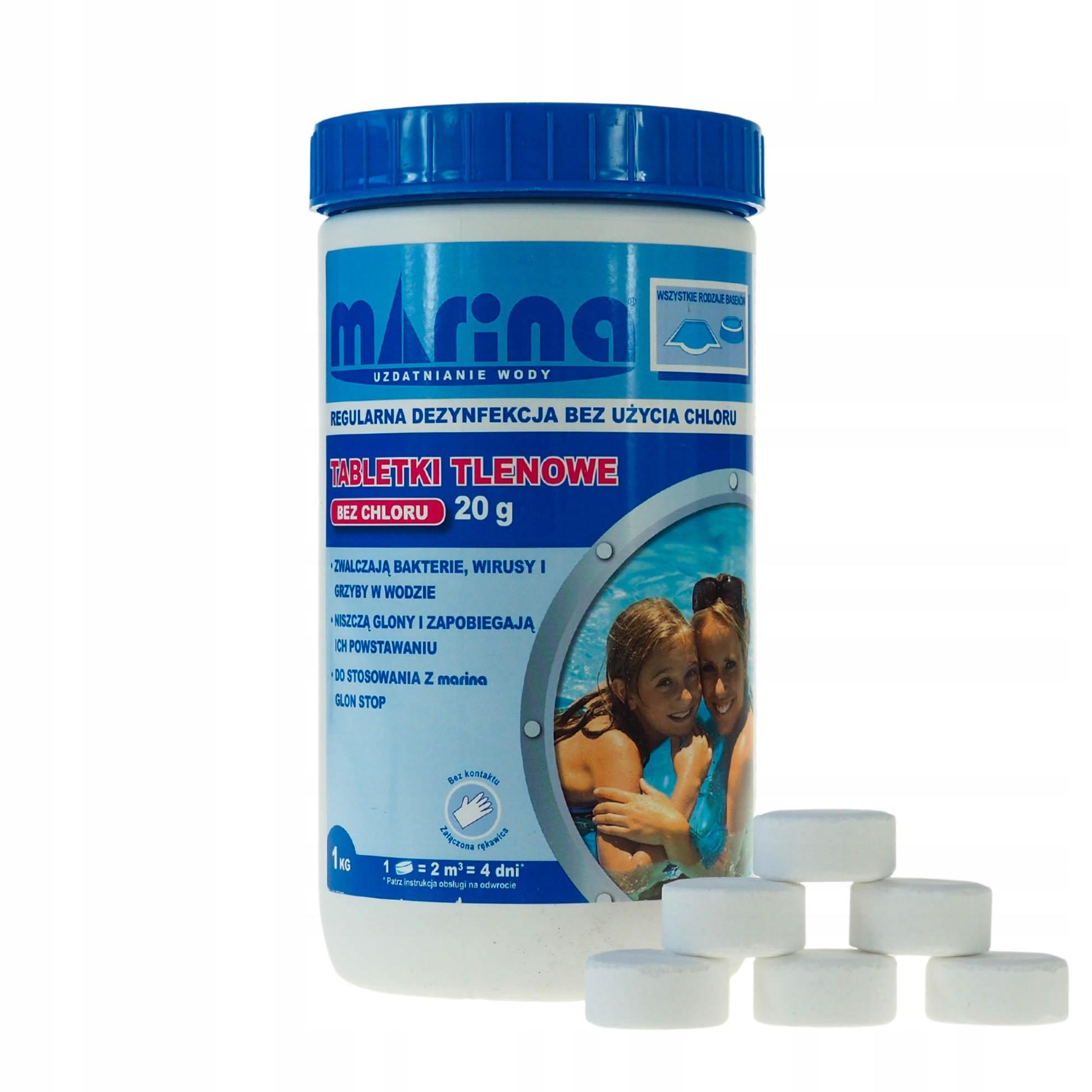 Kyslíkové tablety pre bazén Marina bez chlóru 1KG