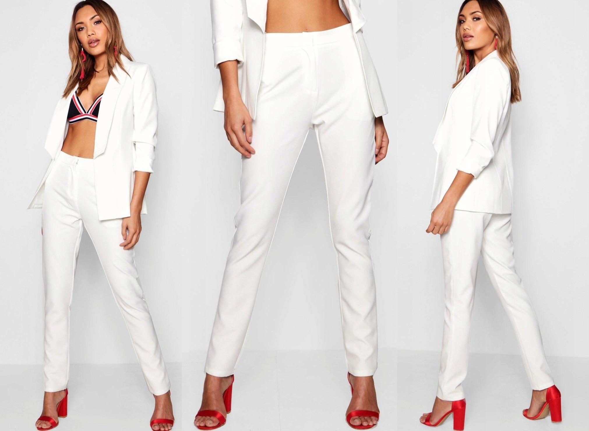 BOOHOO Biele rovné nohavice CYGARETKI Ecri retro M