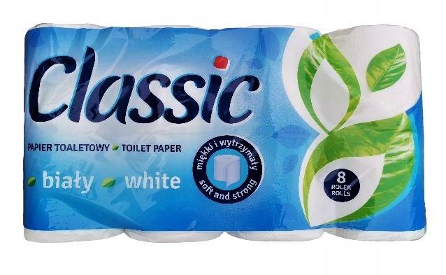 Бархатная туалетная бумага Белая классика 8 Роллс