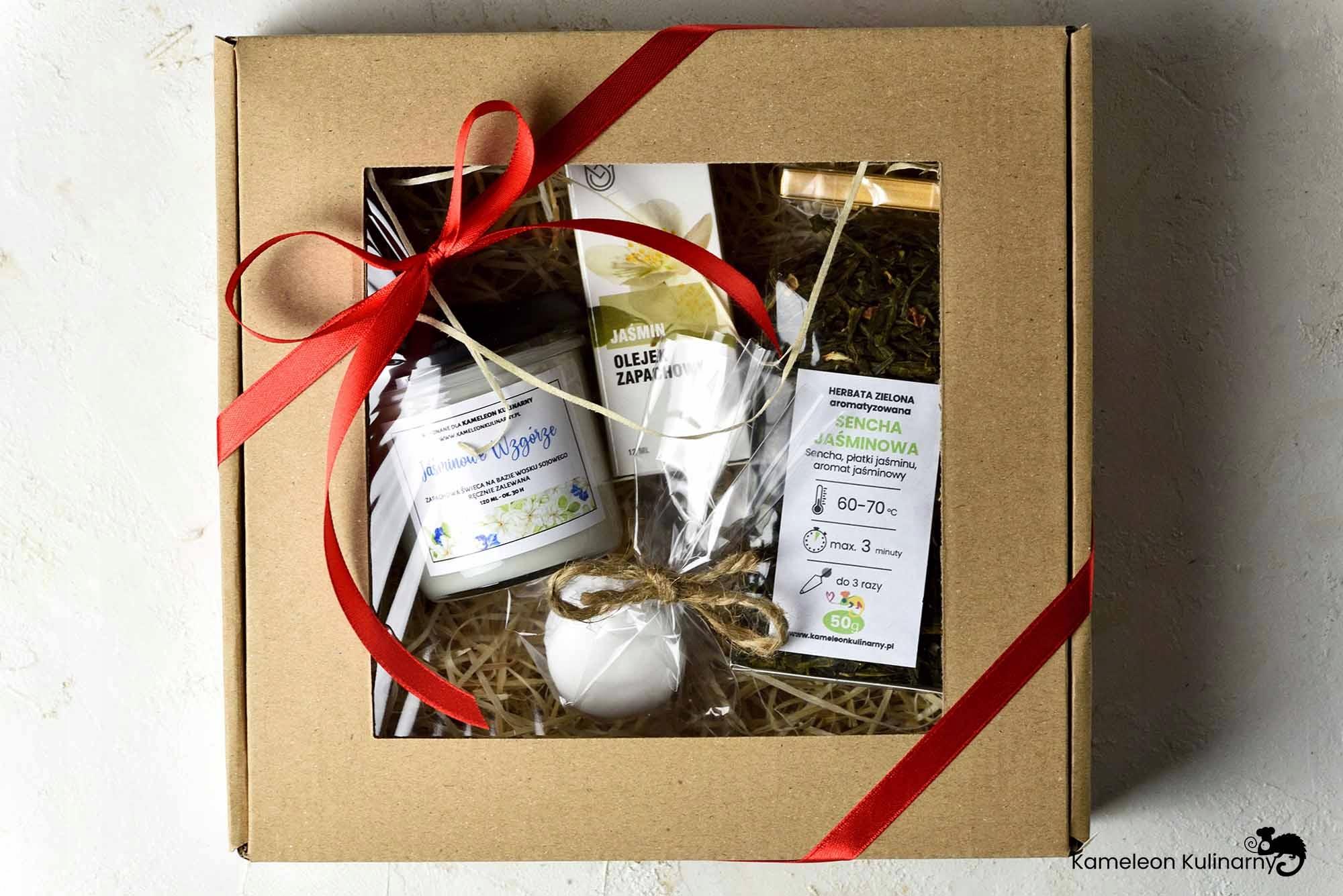 ZESTAW PREZENT świeca herbata olejek mydło JAŚMIN! Kod producenta ZESTAW PREZENTOWY jaśminowy JAŚMIN