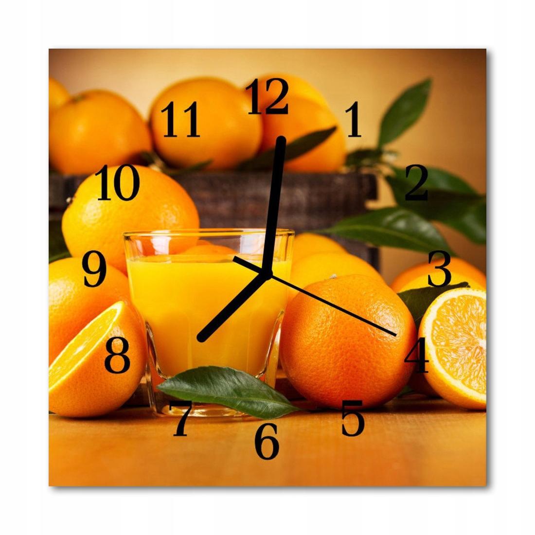 Zegar szklany ścienny Cichy Pomarańcze Owoc