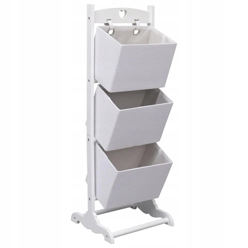 3-Tier nočnom stolíku S Koše, Biela 35x35x102 cm