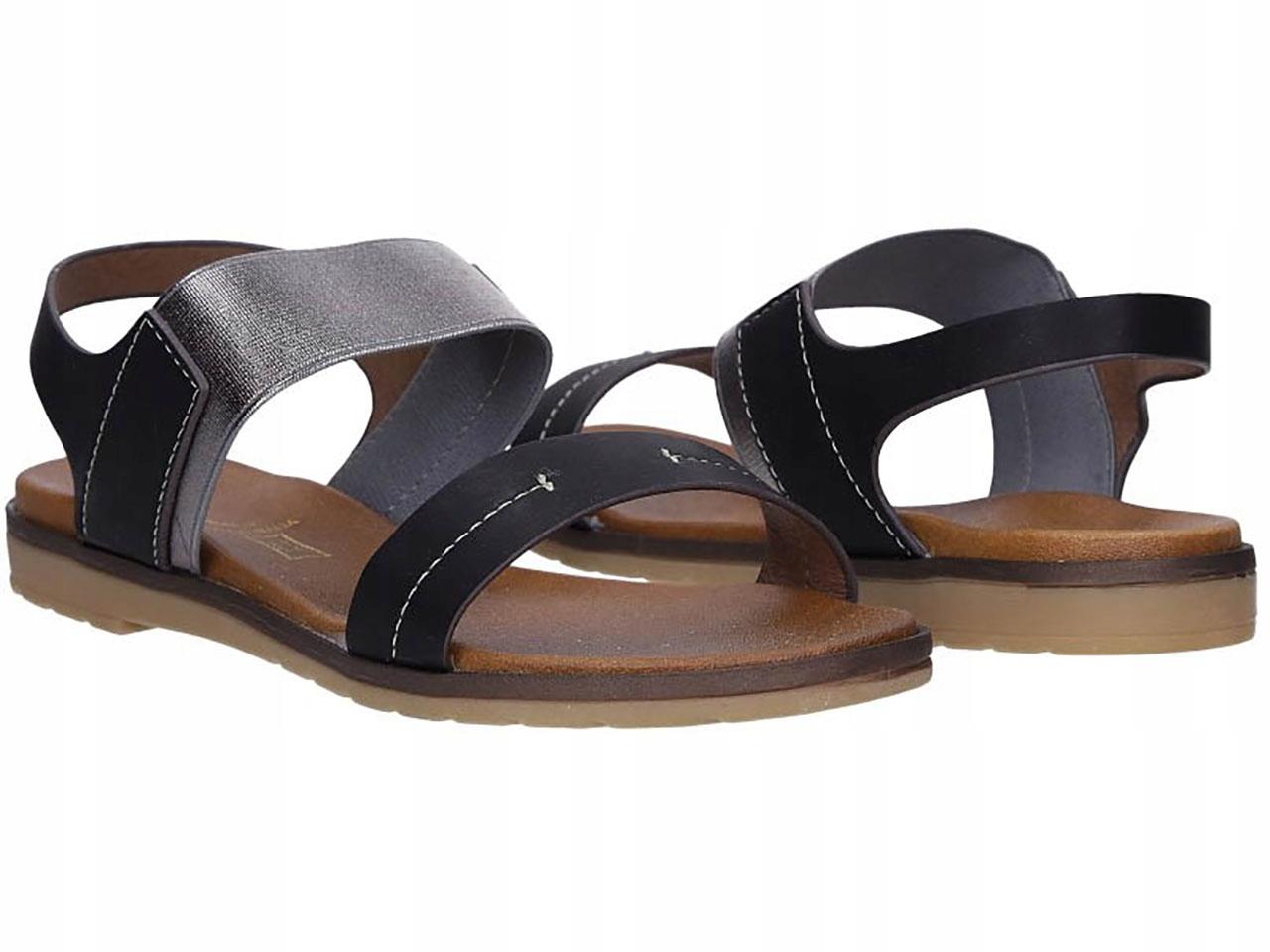 Klasyczne Sandały Błyszcząca Gumka Obuwie Letnie