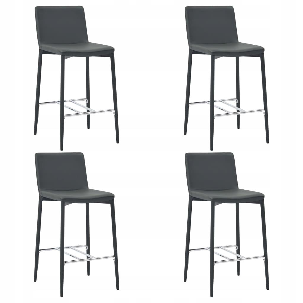 Kreslá, stoličky, 4 Ks sivá PU koža