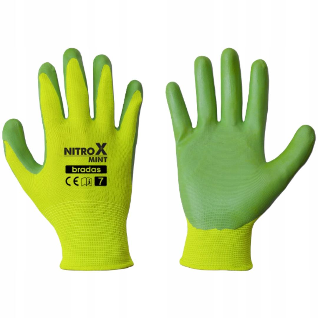 Размер защитных нитриловых рабочих перчаток BRADAS. 8