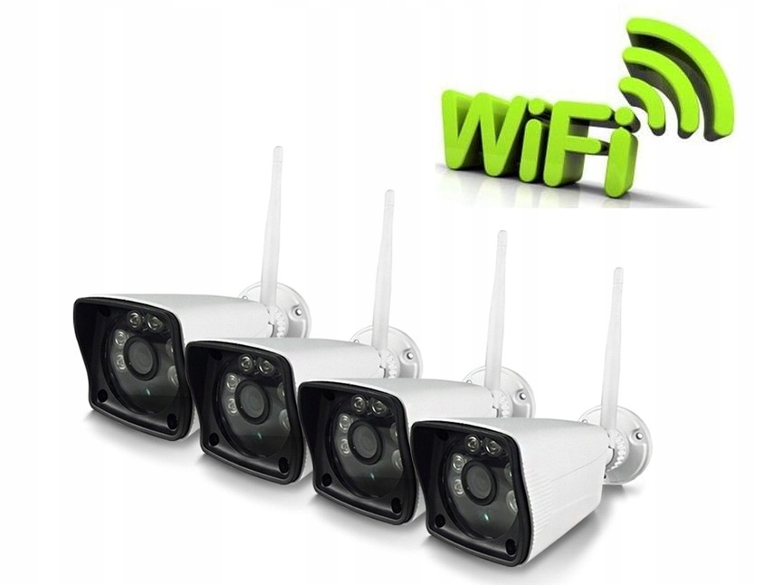 Zestaw 4 kamer zewnętrznych online podczerwień noc