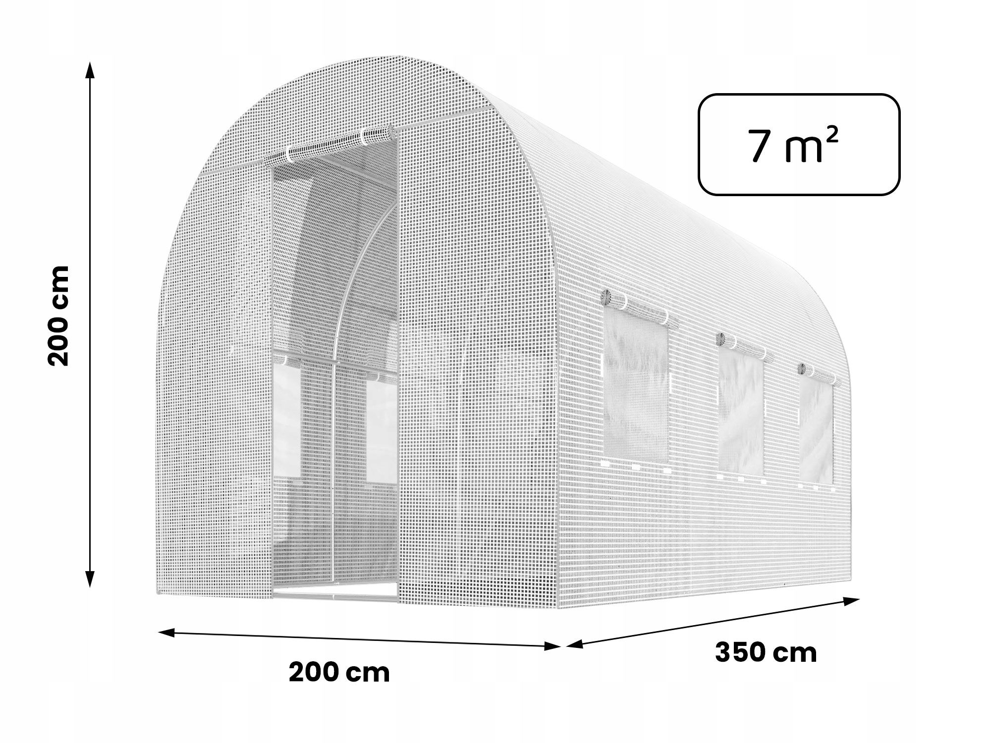FOLIA NA TUNEL OGRODOWY 2x3,5m ZAMIENNA UV-4 7m2 Szerokość 200 cm