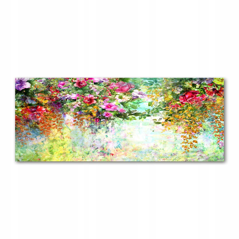 Foto obraz szkło akryl Wielobarwne kwiaty 125x50cm