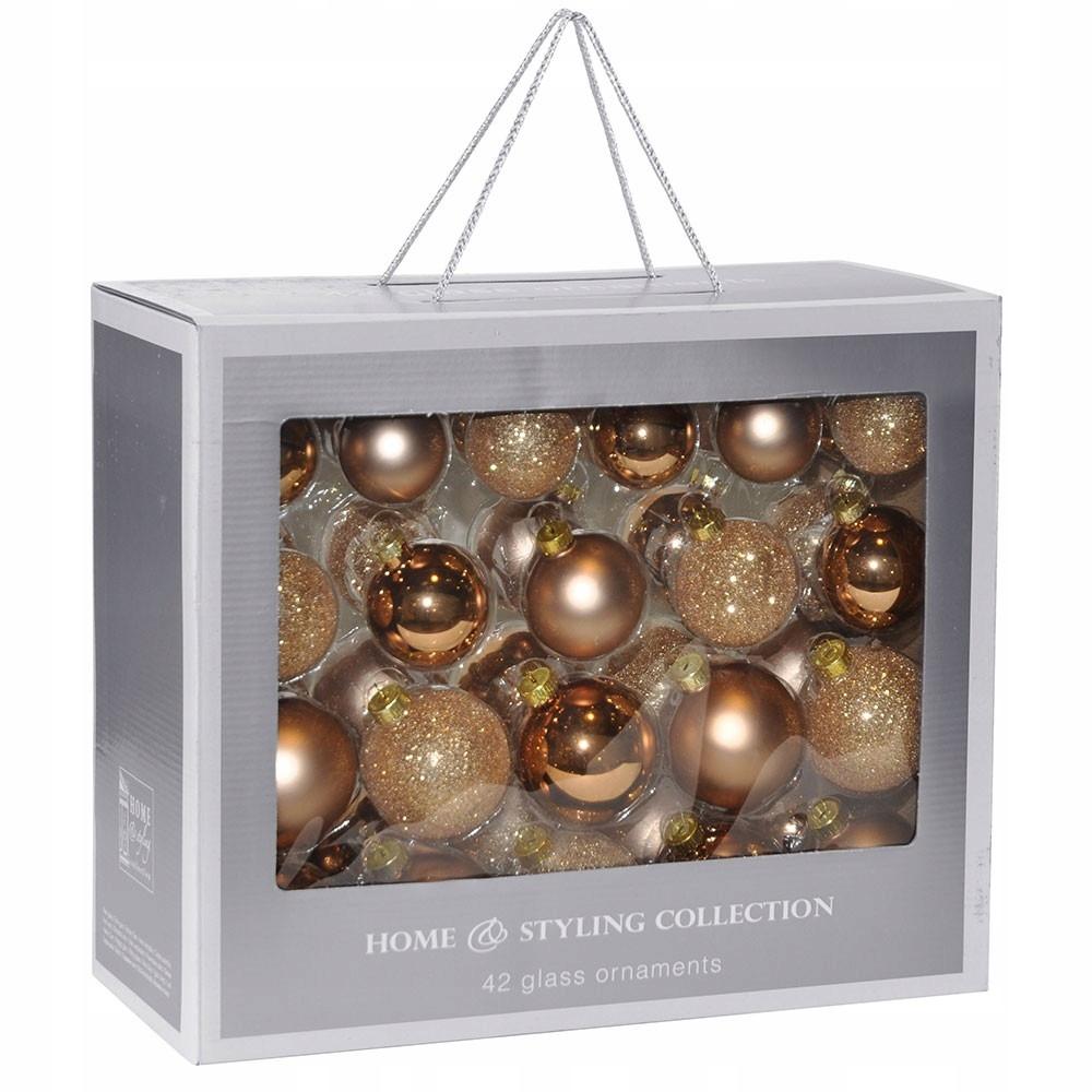 Ozdobné medeno-zlaté vianočné gule 42 ks