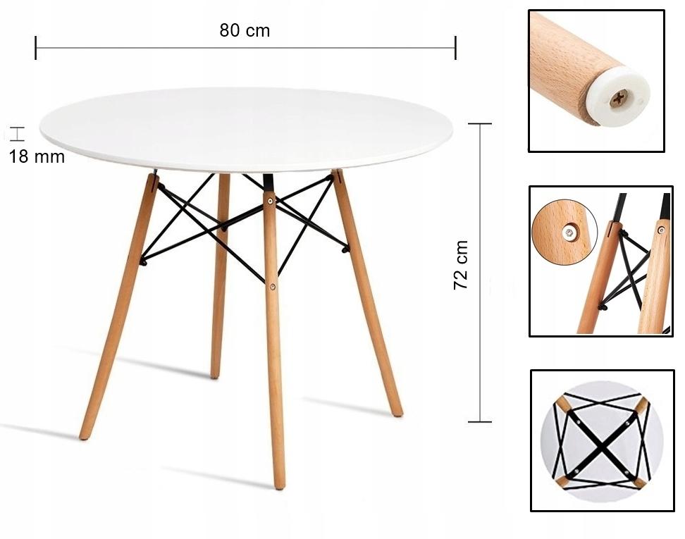Stół + 4 Krzesła Nowoczesny Skandynawski Styl DSW Kolor blatu inny kolor