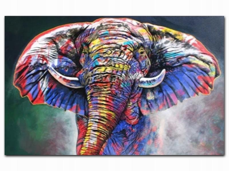Образ Картина по номерам Разноцветный слоник S061
