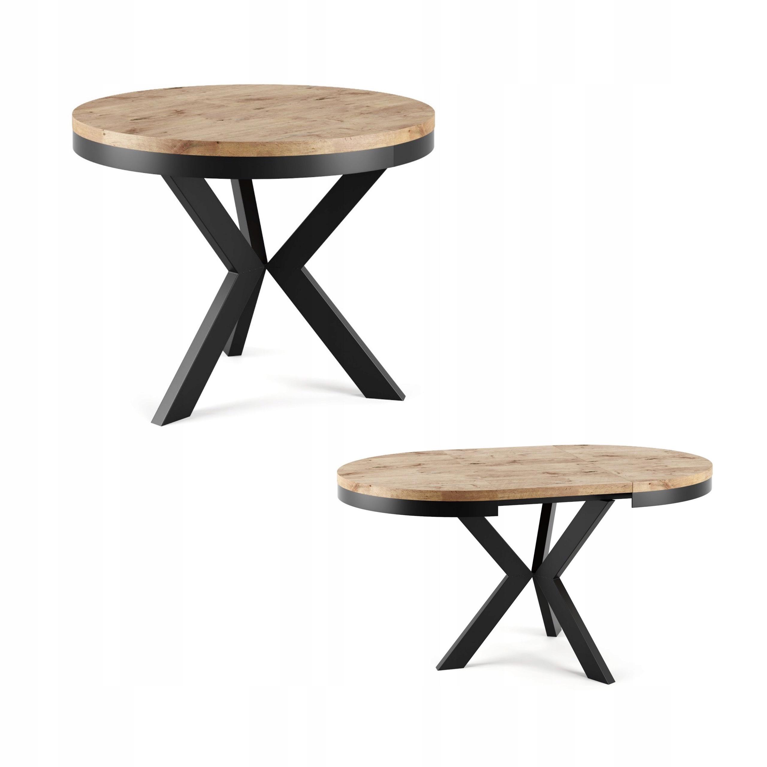 stół do salonu okrągły rozkładany metal LOFT
