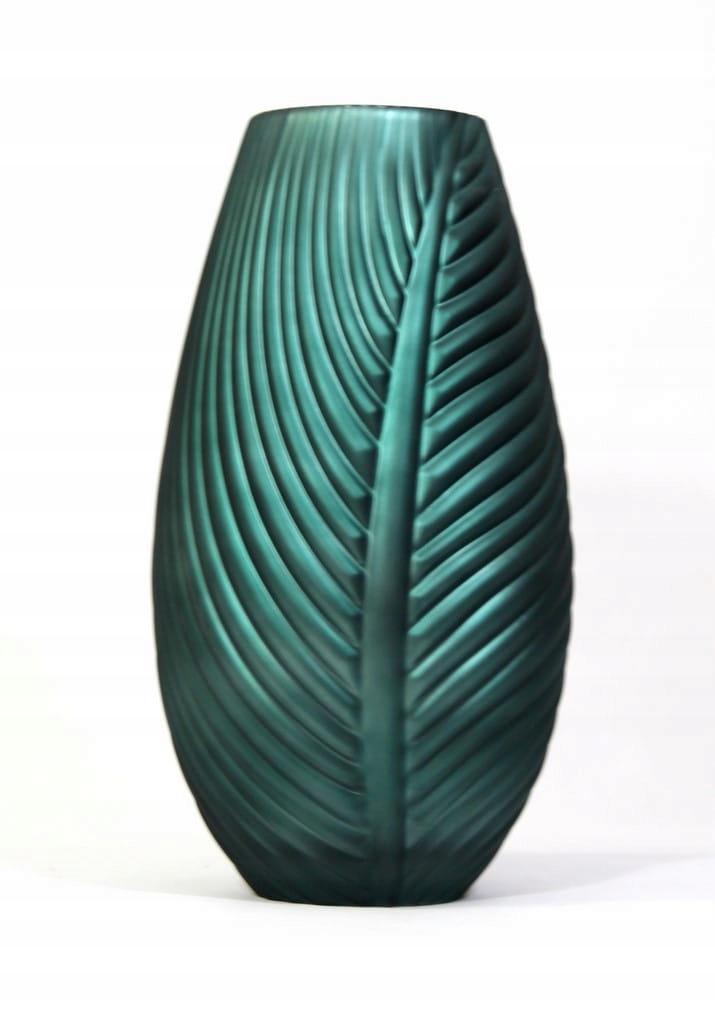 Wazon Glass Liść h 32 cm-matowa zieleń