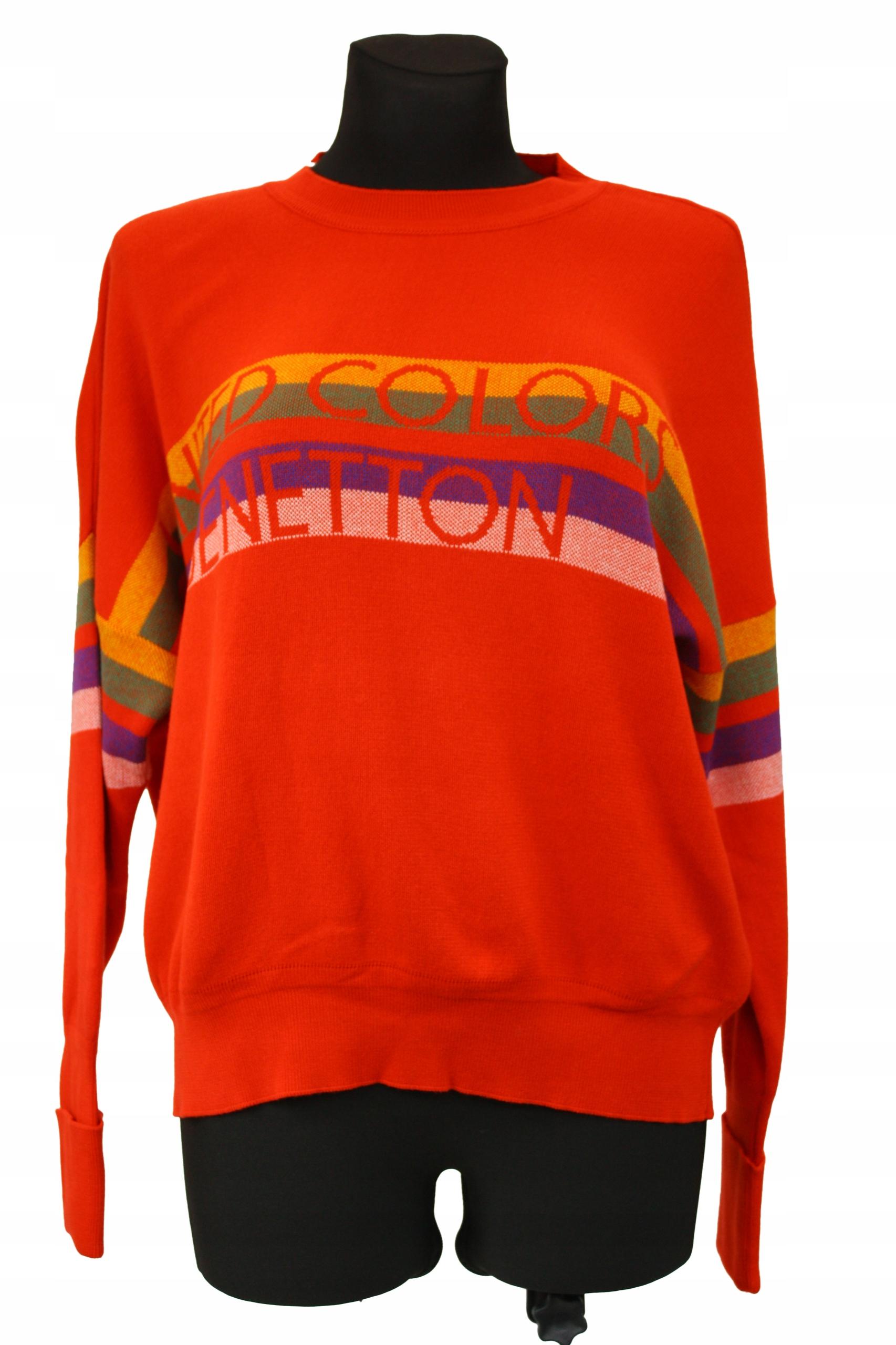 Dámsky retro sveter BENETTON nadrozmerná bavlna S
