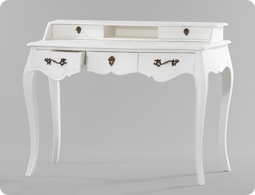 Unikalny biały sekretarzyk biurko lite drewno
