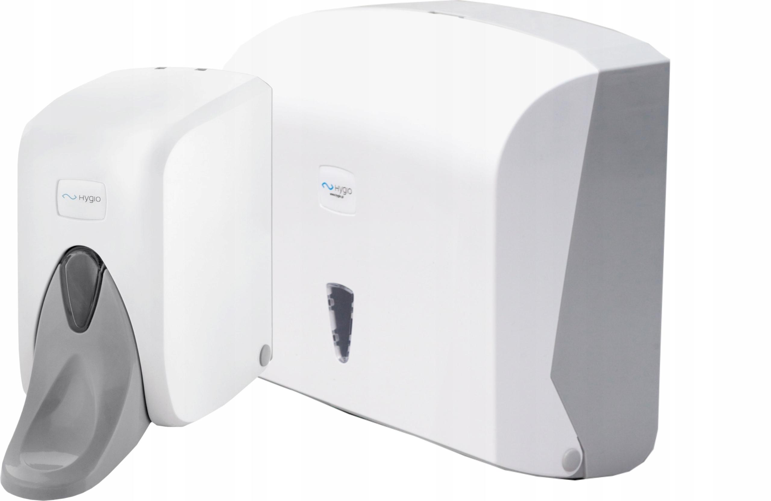 Sada dávkovačov mydla a uterákov v bielom ABS