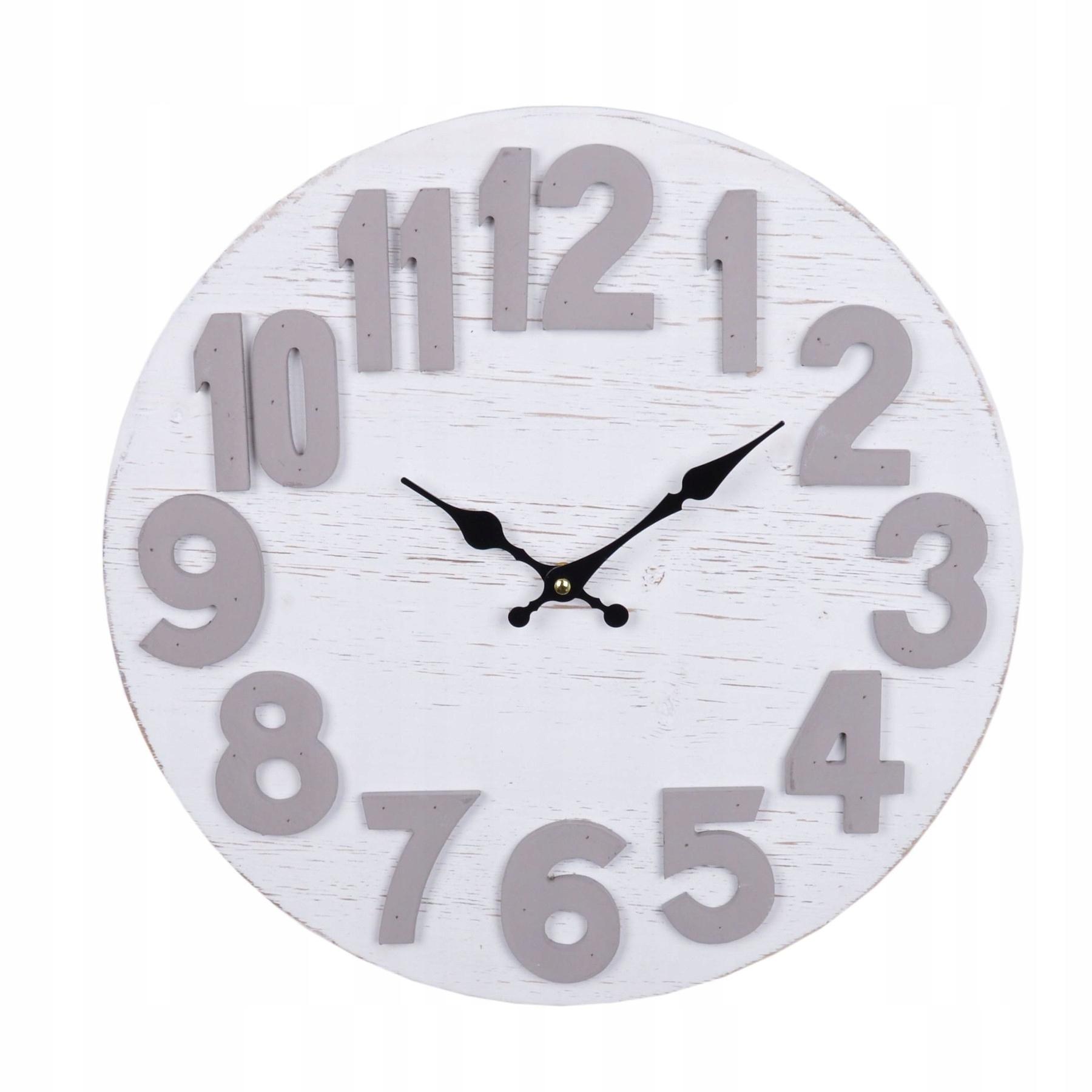 Drevené nástenné hodiny biele okrúhle retro 40 cm