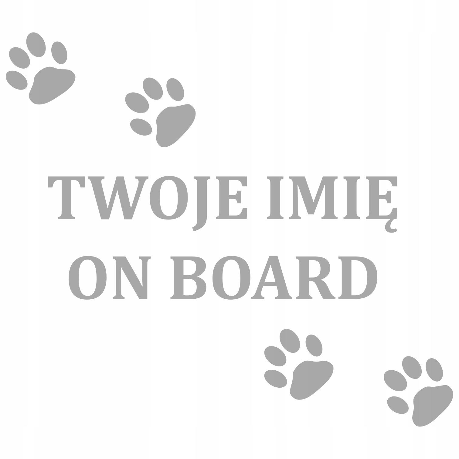 наклейка на машину имя собаки надпись отпечатки лап