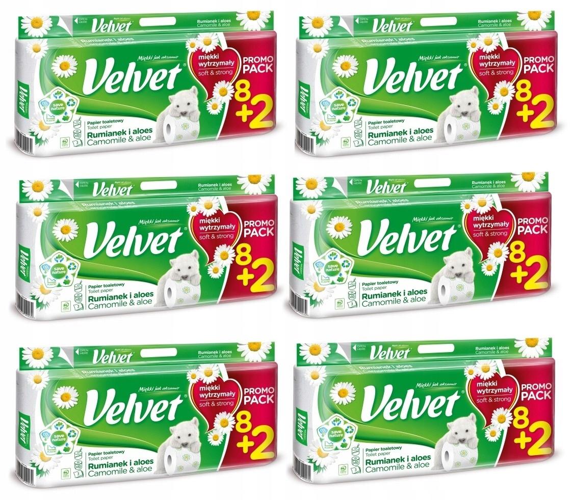Туалетная бумага Velvet с РОМАШКОЙ и АЛОЭ 60 рулонов