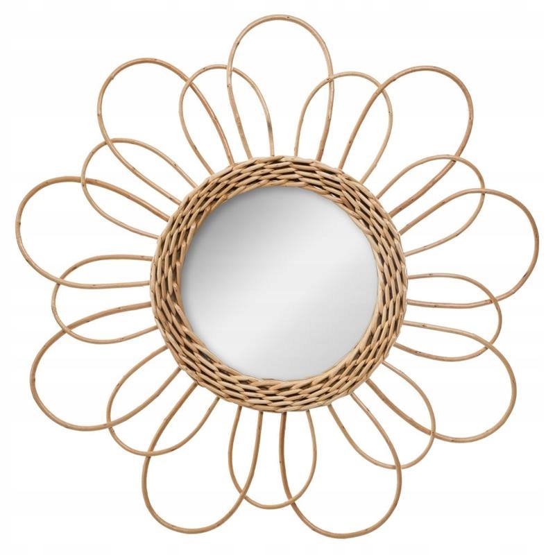 Зеркало из ротанга в деревенском стиле BOHO FLOWER декоративное