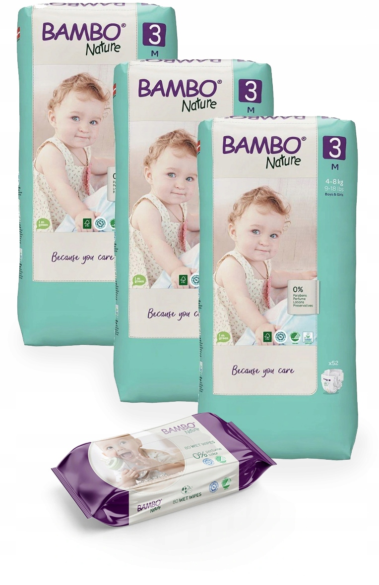 Eko pieluszki BAMBO NATURE 3 MIDI 4-8kg 156szt