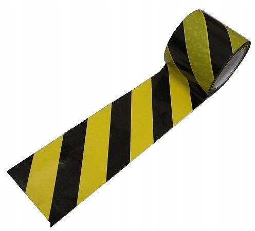 Taśma ostrzegawcza czarno żółta 100m