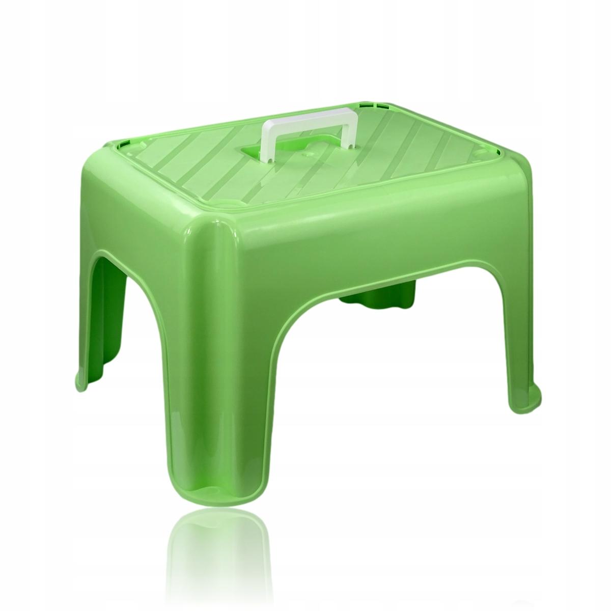 Taboret podnóżek dla dzieci midi z uchwytem Green