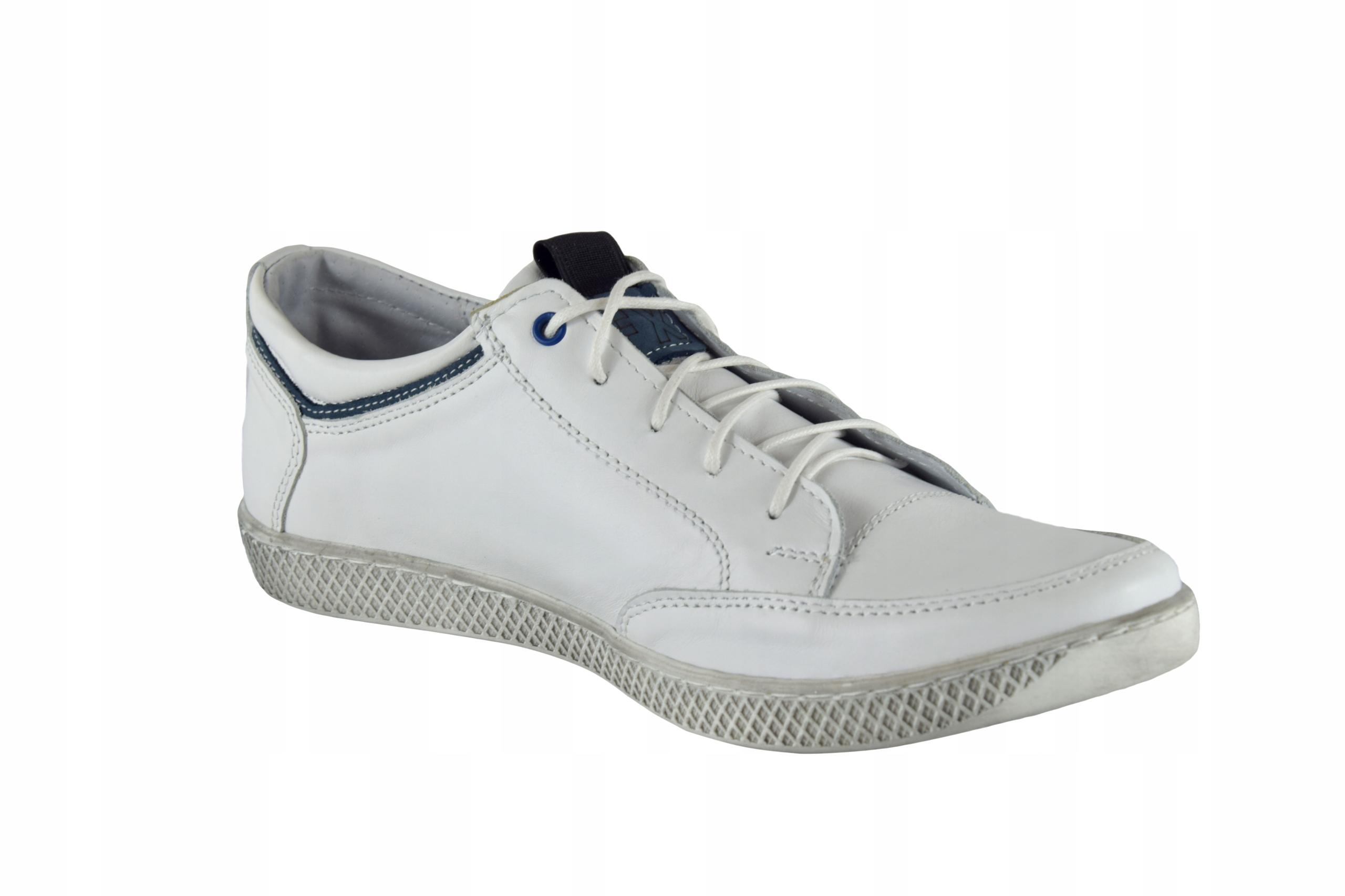 Skórzane męskie białe sznurowane buty męskie 0447 Długość wkładki 26.6 cm