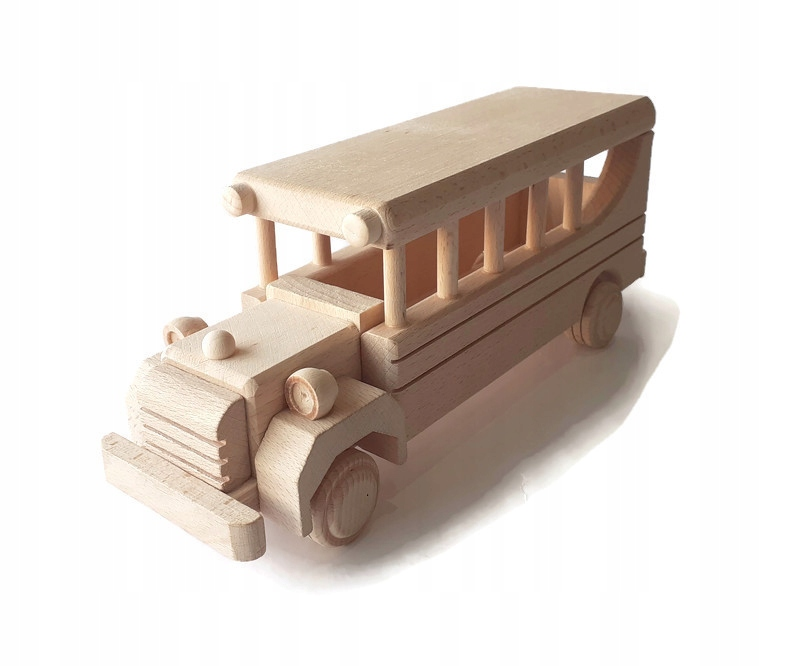 Retro drevená hračka Montessori BUS