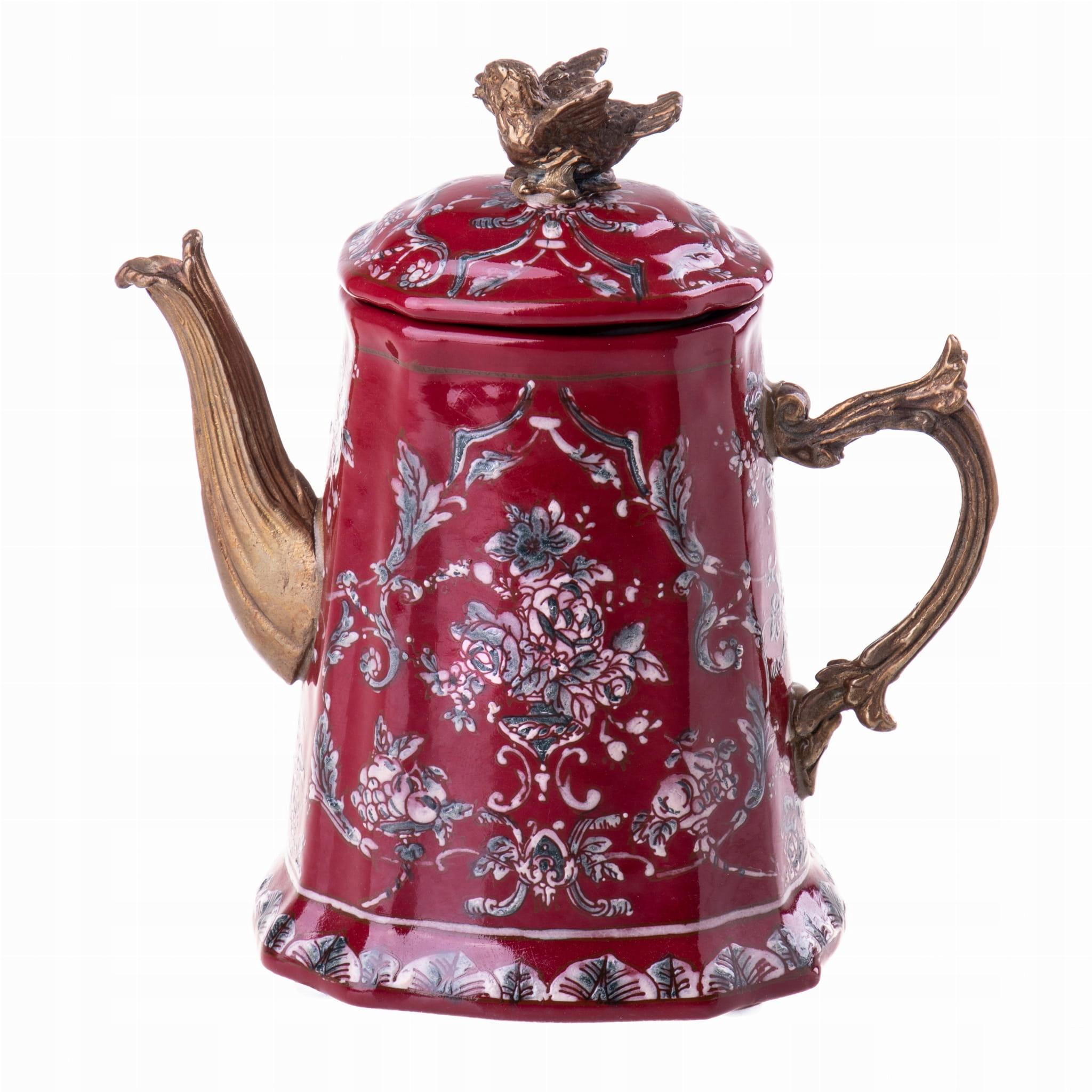 Dekoratívny červený porcelánový džbán