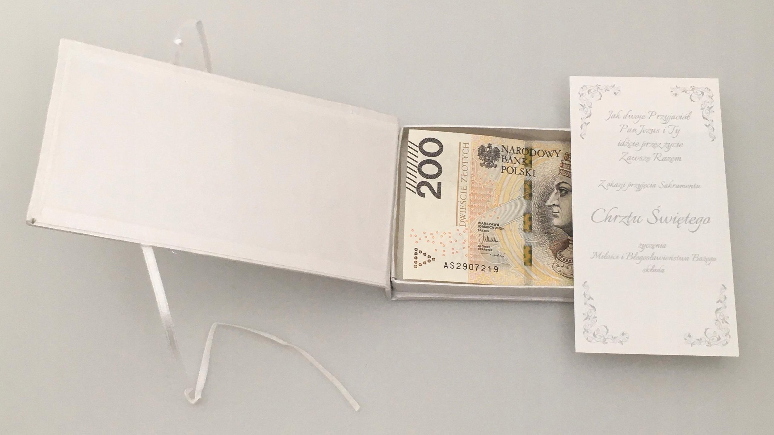 Chrzest pudełko pamiątka banknot personalizowane